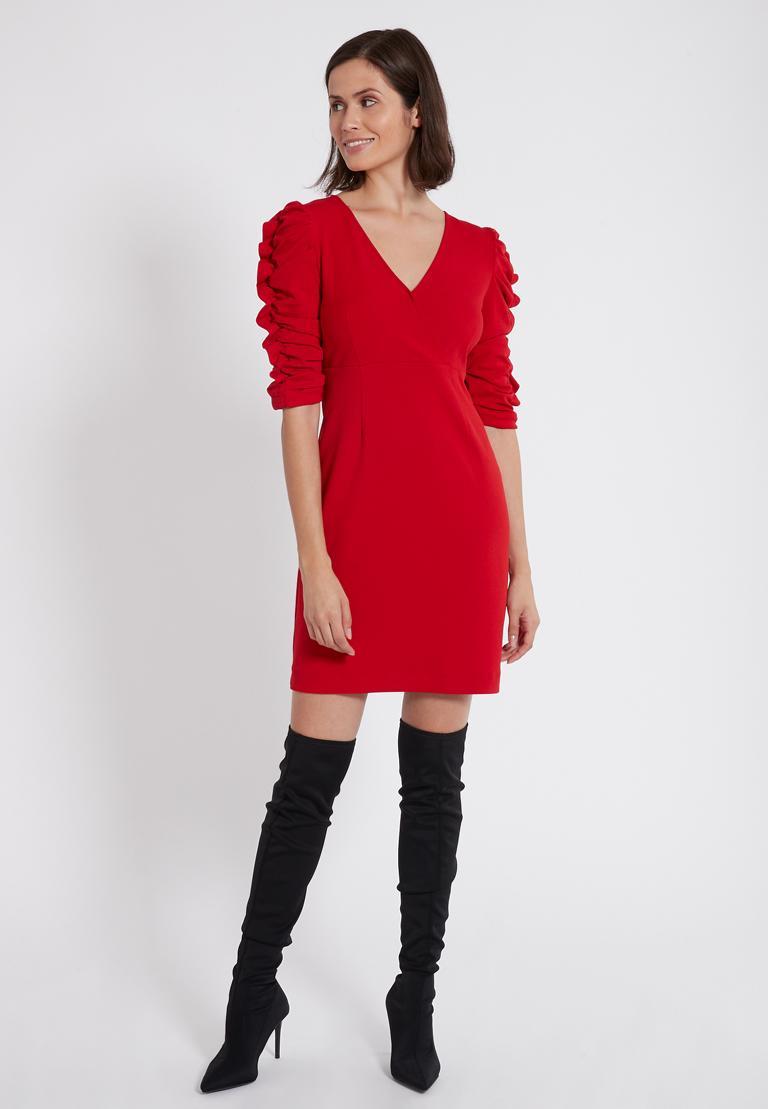 Rückansicht von Ana Alcazar Kleid mit Raffung Peane Rot