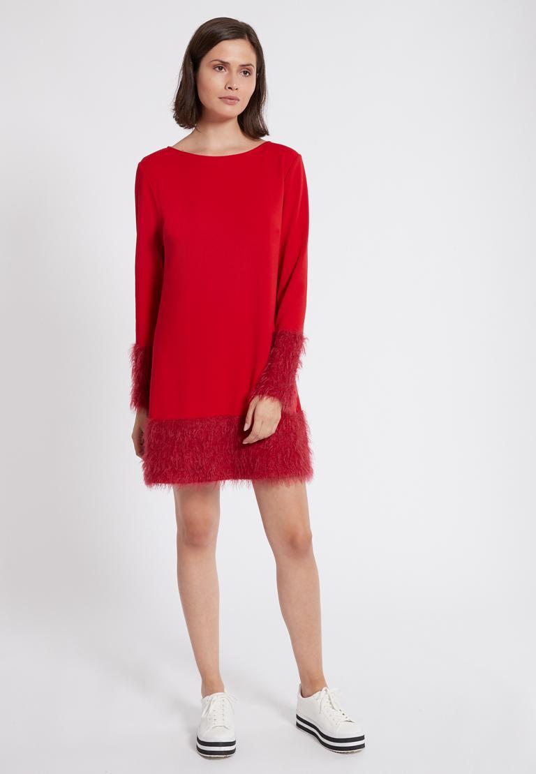 Rückansicht von Ana Alcazar Mix Kleid Petea Rot