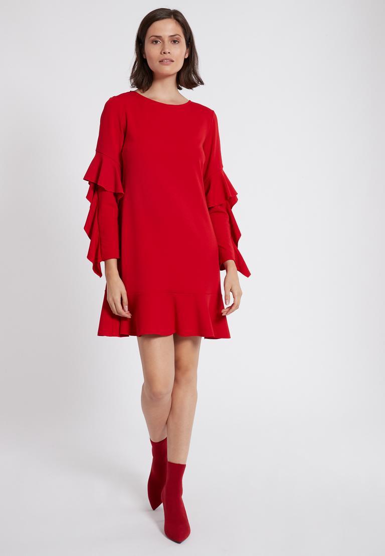 Rückansicht von Ana Alcazar Volantärmel-Kleid Philie Rot