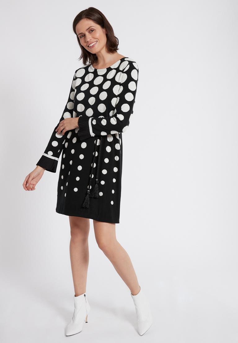 Rückansicht von Ana Alcazar Langarm-Kleid Priya Schwarz-Weiß