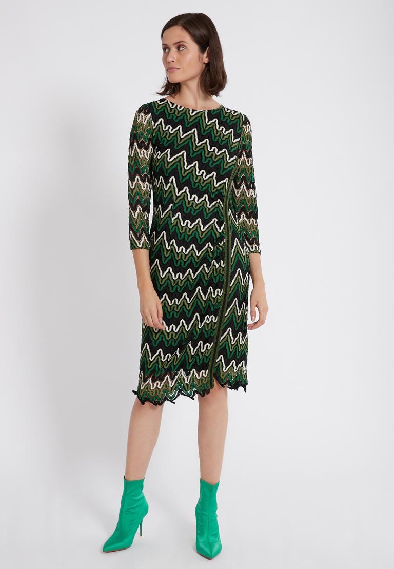 Rückansicht von Ana Alcazar Lurex-Streifen Kleid Photysa Grün