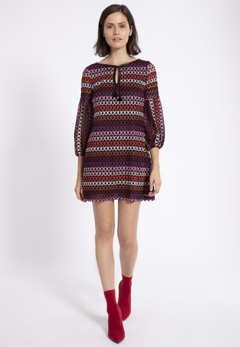 Rückansicht von Ana Alcazar Ballon-Arm Kleid Plyre Bordeaux