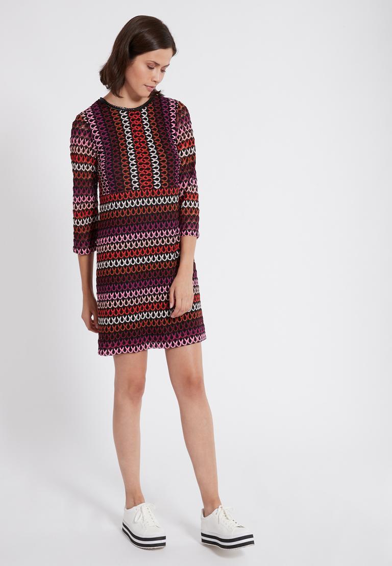 Rückansicht von Ana Alcazar A-Linien-Kleid Plyrawe Bordeaux