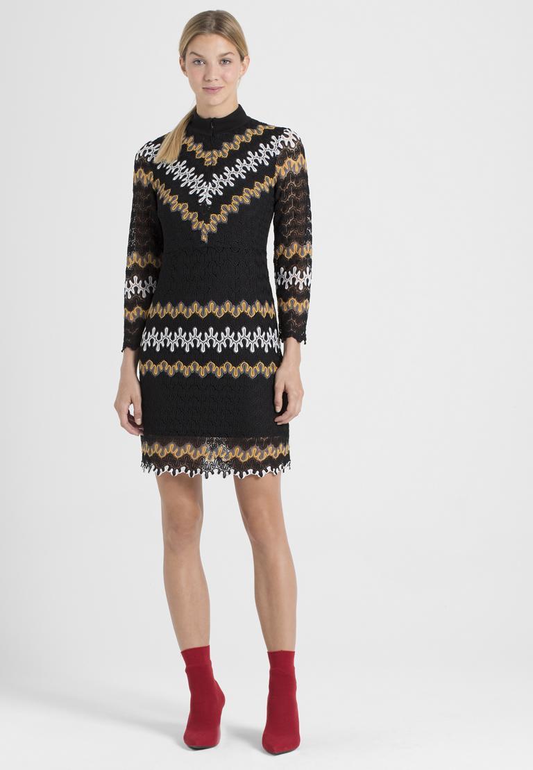 Rückansicht von Ana Alcazar Asymmetrisches Kleid Posira Schwarz