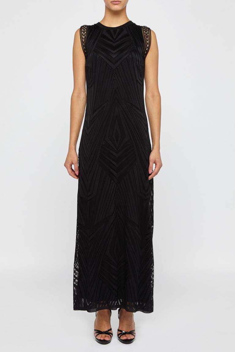 Front of Ana Alcazar Maxi  Dress Black Felisas  worn by model