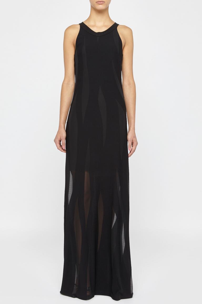 Front of Ana Alcazar Maxi Dress Black Faleara  worn by model