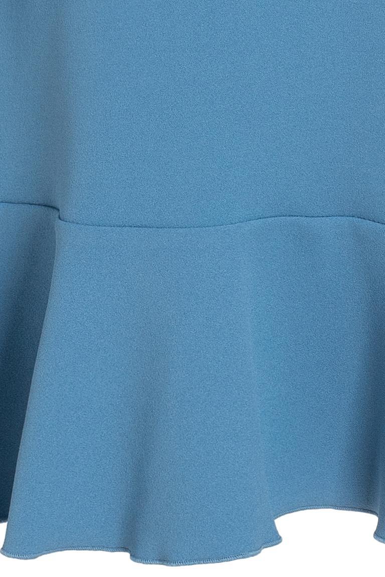 Vorderansicht von Ana Alcazar Volantärmel-Kleid Philis Blau  angezogen an Model