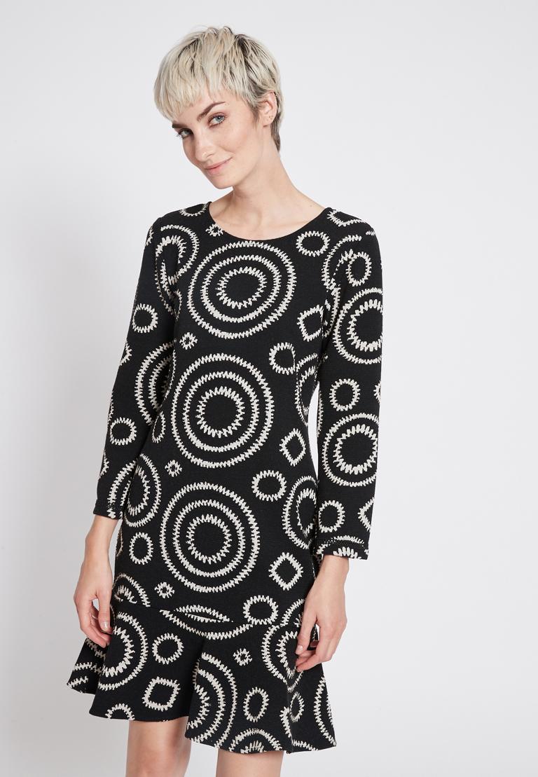 Front of Ana Alcazar Volant Dress Presena Black  worn by model