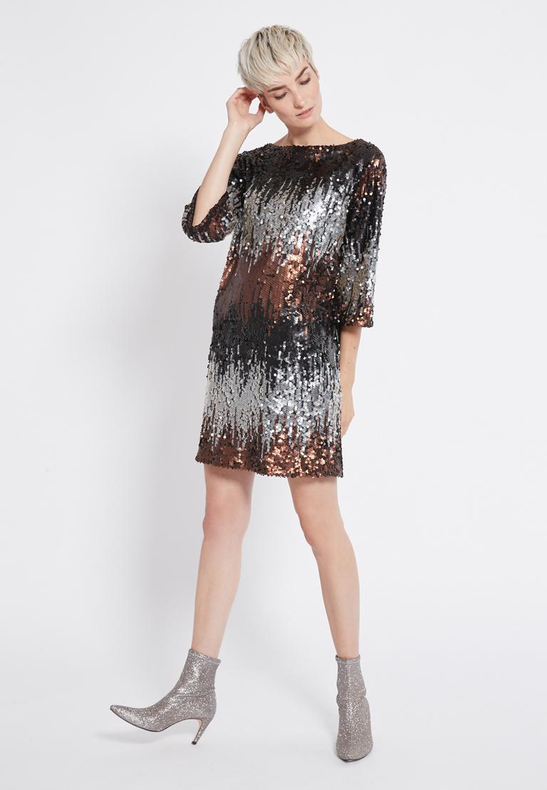 Front of Ana Alcazar Sequin Dress Rimas  worn by model