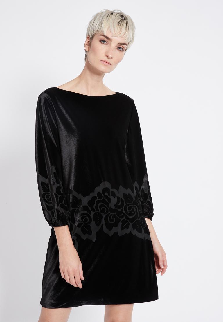Front of Ana Alcazar Velvet Dress Revita  worn by model