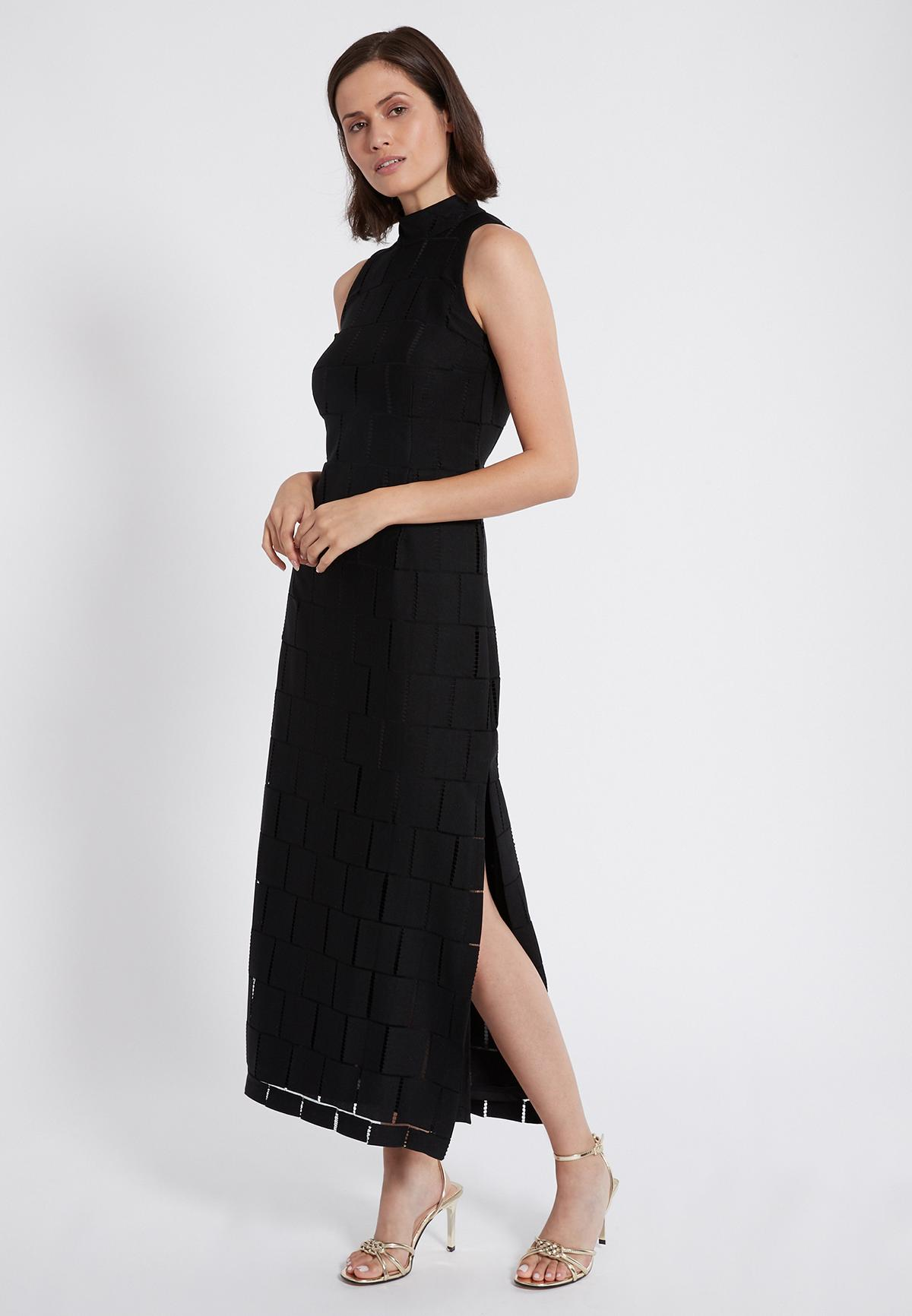 Front of Ana Alcazar Maxi Dress Samita Black  worn by model