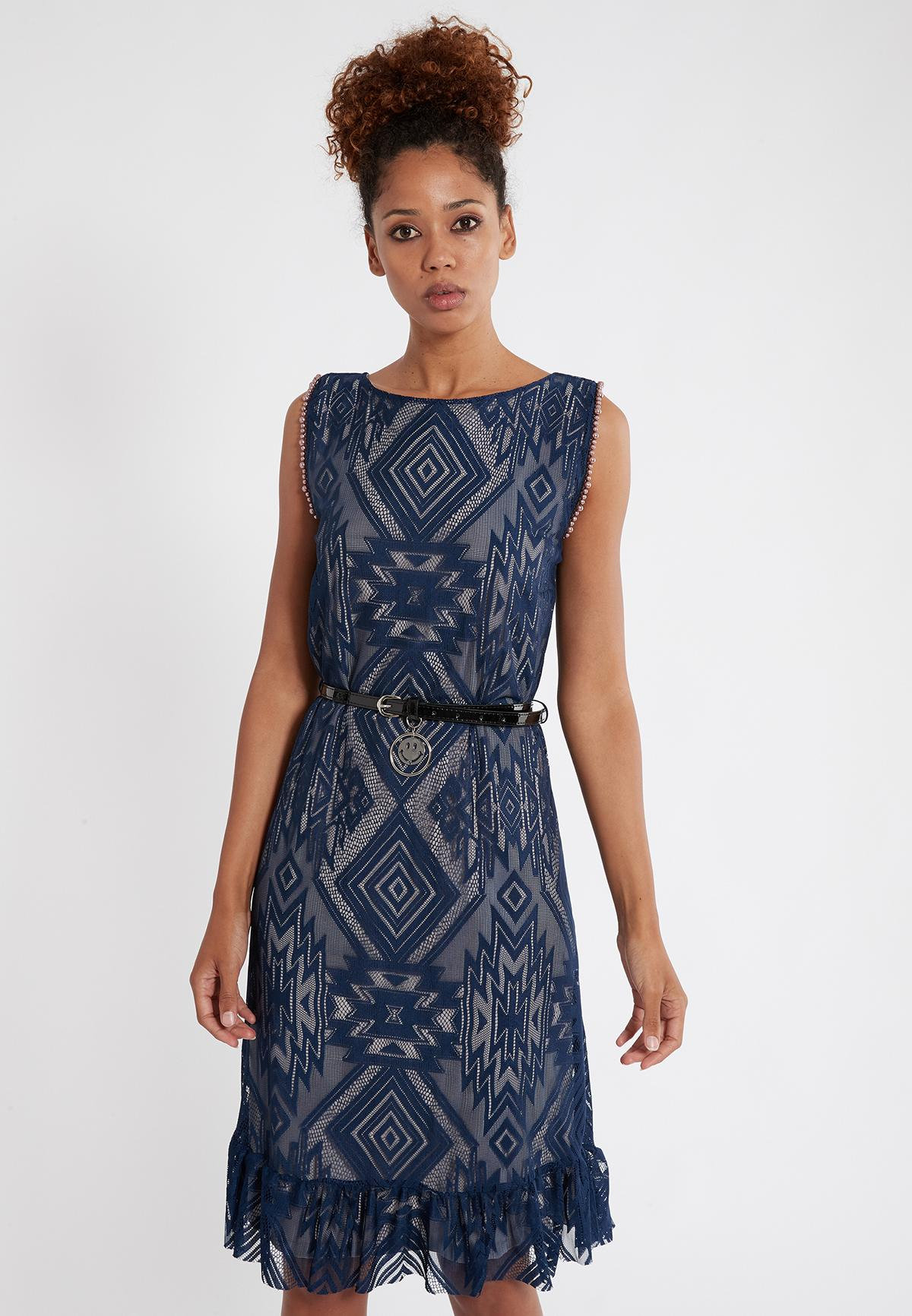 Front of Ana Alcazar Sleeveless Dress Saprona  worn by model