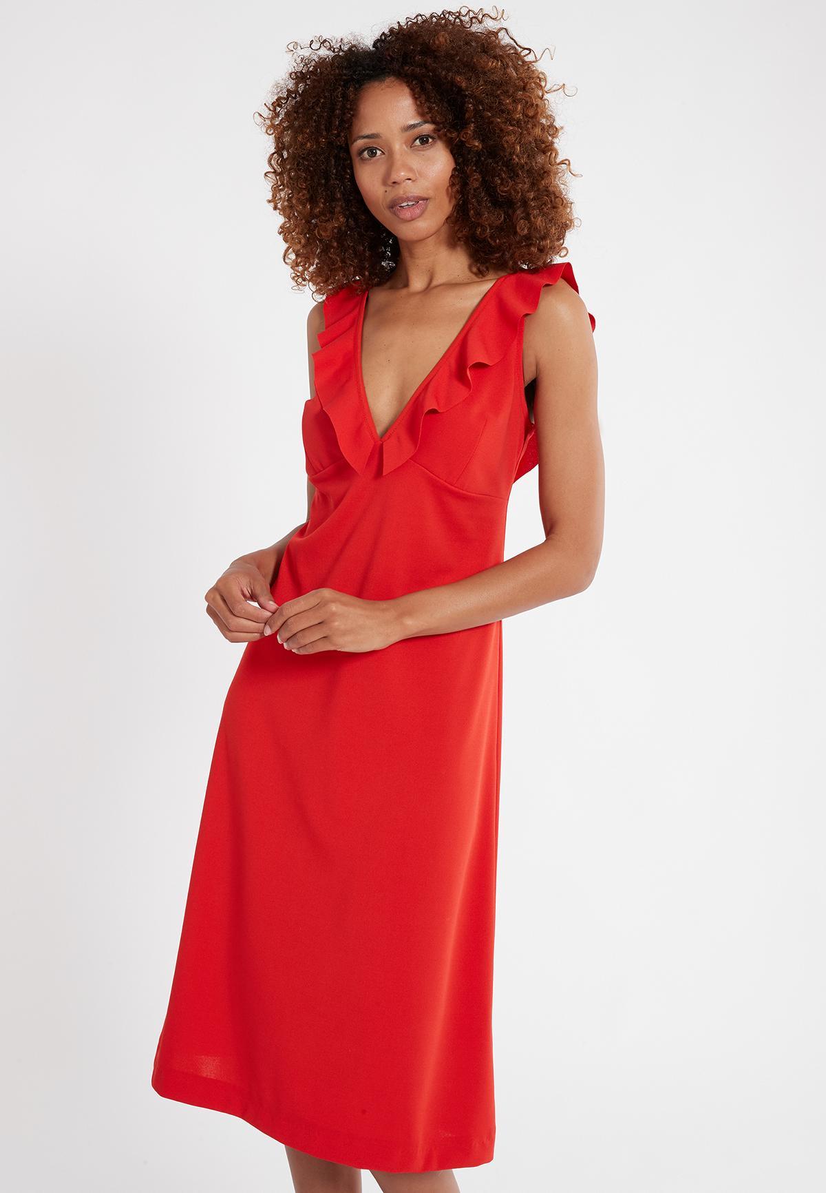 Vorderansicht von Ana Alcazar Flamenco Kleid Sawona Red  angezogen an Model