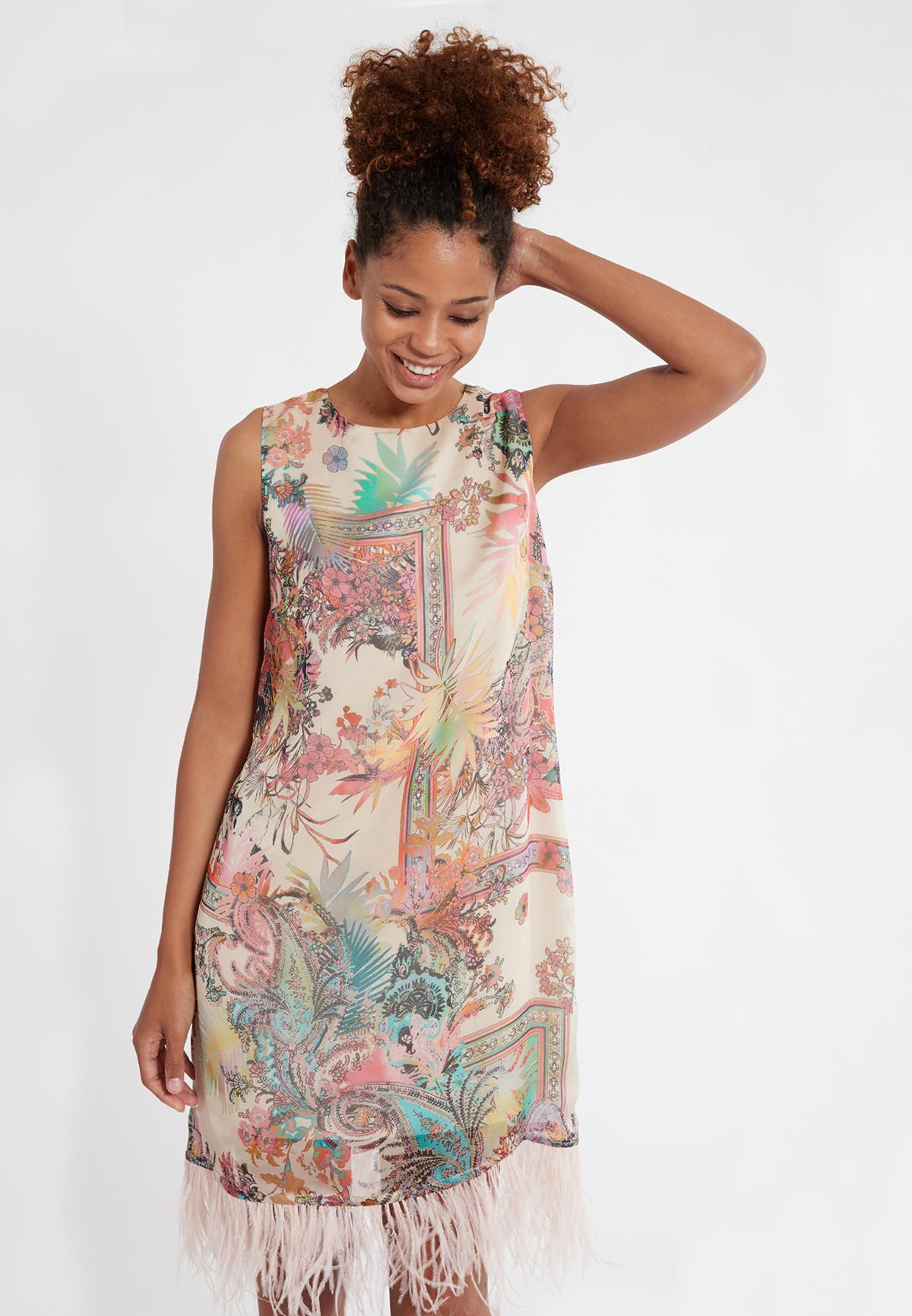 Front of Ana Alcazar A-Shaped Dress Sekato Beige  worn by model