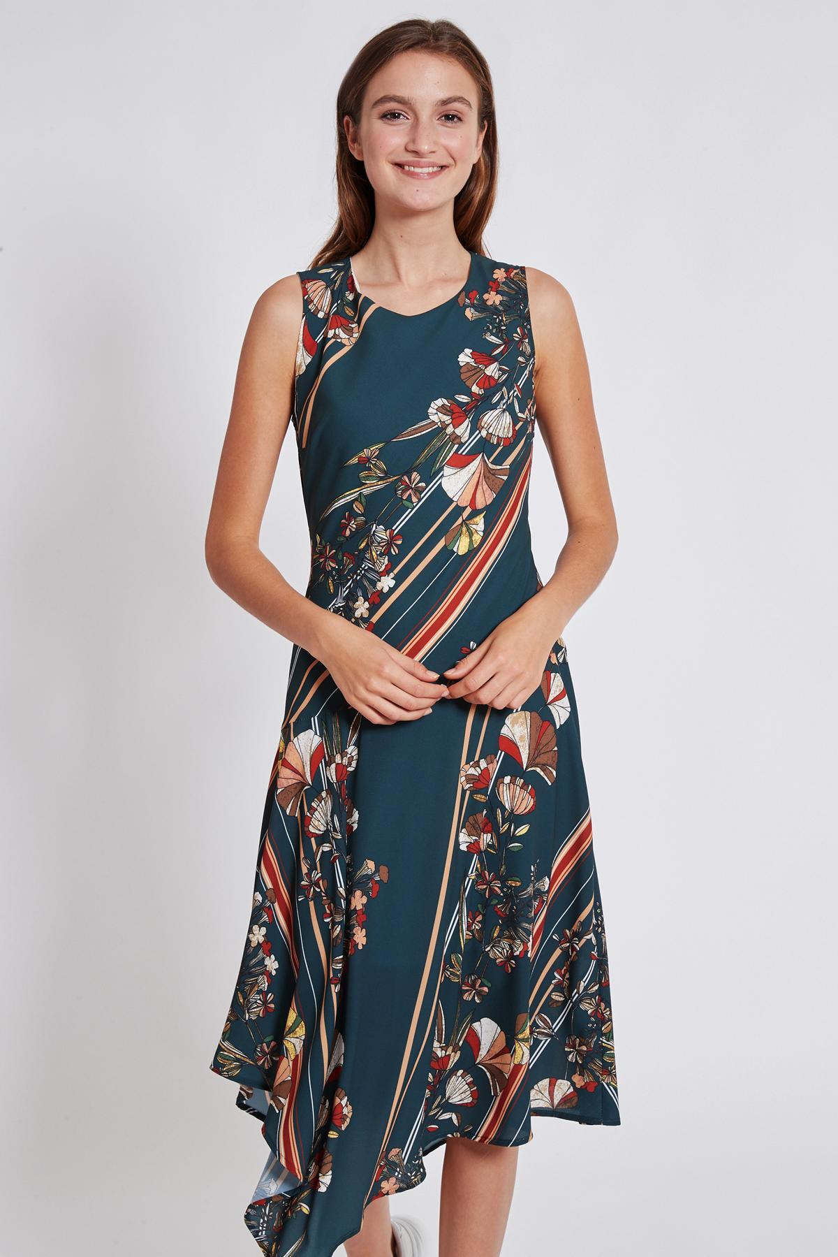 Front of Ana Alcazar Midi Dress Talusa  worn by model