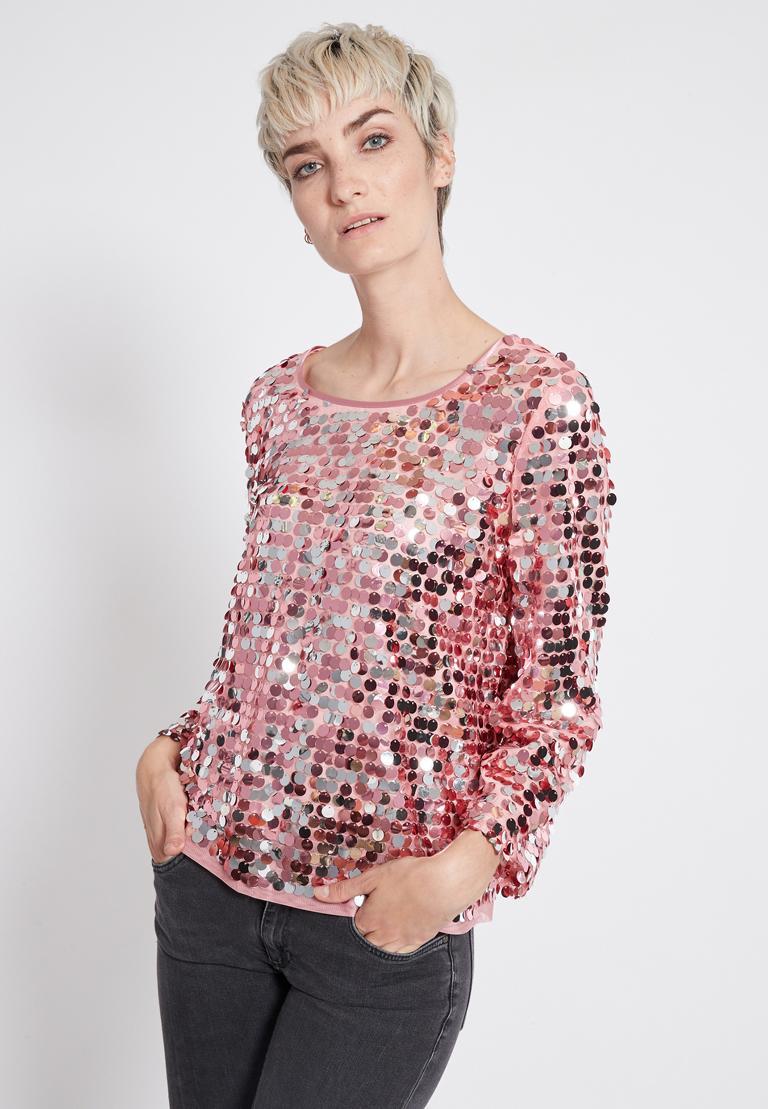 Vorderansicht von Ana Alcazar Glam Pailletten Top Rhety Rose  angezogen an Model