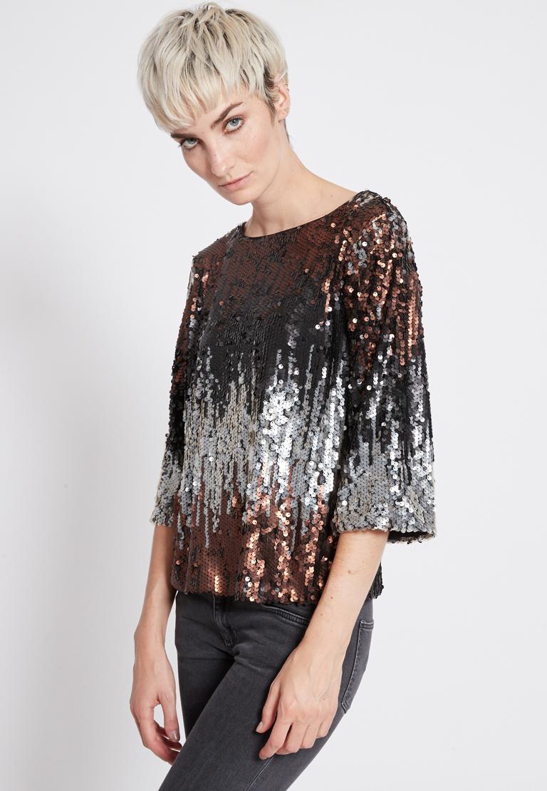 Front of Ana Alcazar Sequin Top Rimay  worn by model