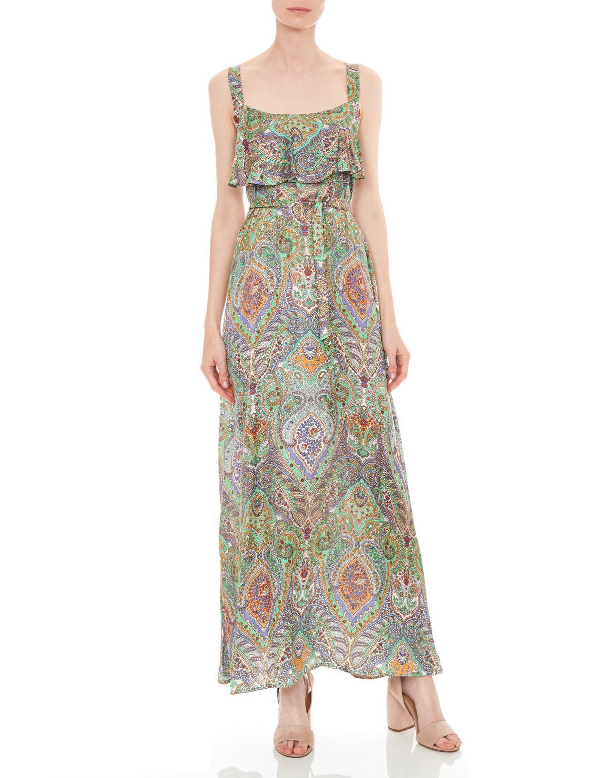Vorderansicht von Ana Alcazar Maxi Kleid Moanita  angezogen an Model