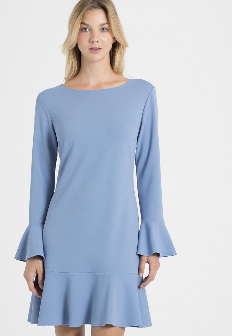 Front of Ana Alcazar Volant Dress Palya Blue  worn by model