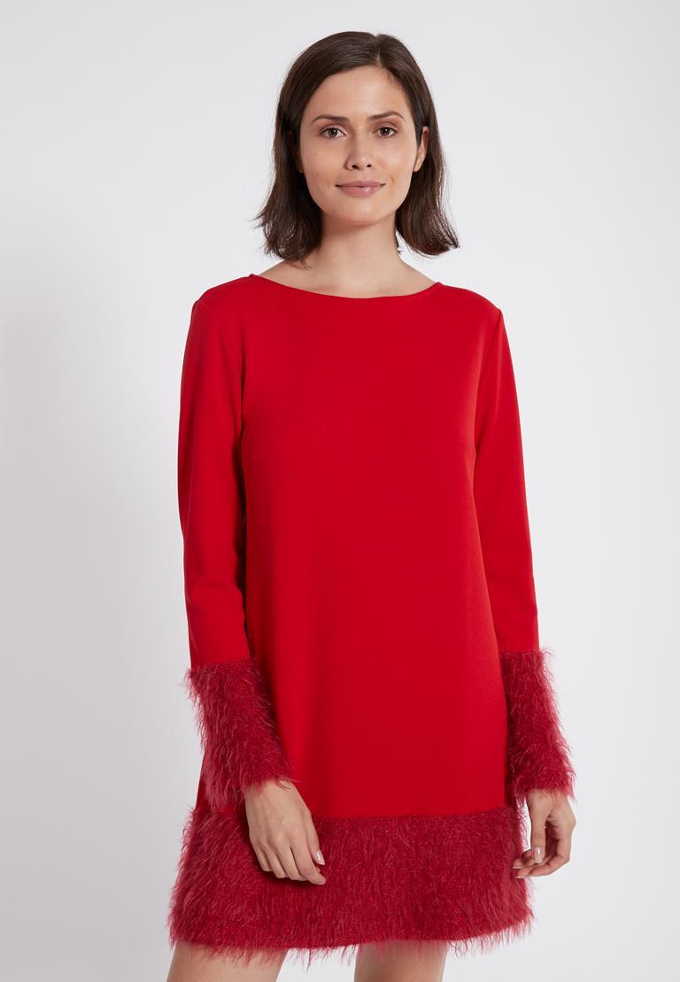 Vorderansicht von Ana Alcazar Mix Kleid Petea Rot  angezogen an Model