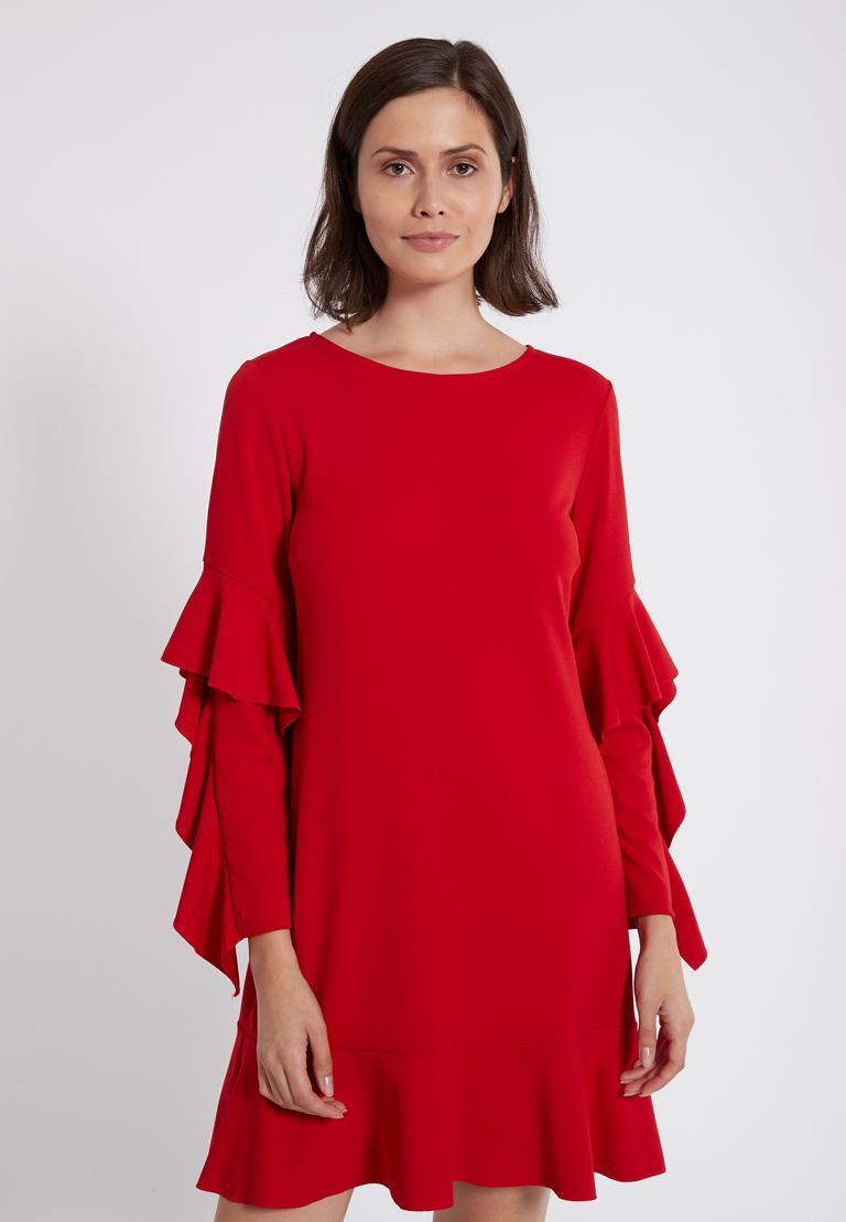Vorderansicht von Ana Alcazar Volantärmel-Kleid Philie Rot  angezogen an Model