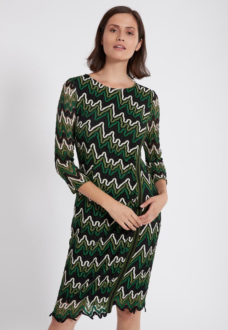 Vorderansicht von Ana Alcazar Lurex-Streifen Kleid Photysa Grün  angezogen an Model