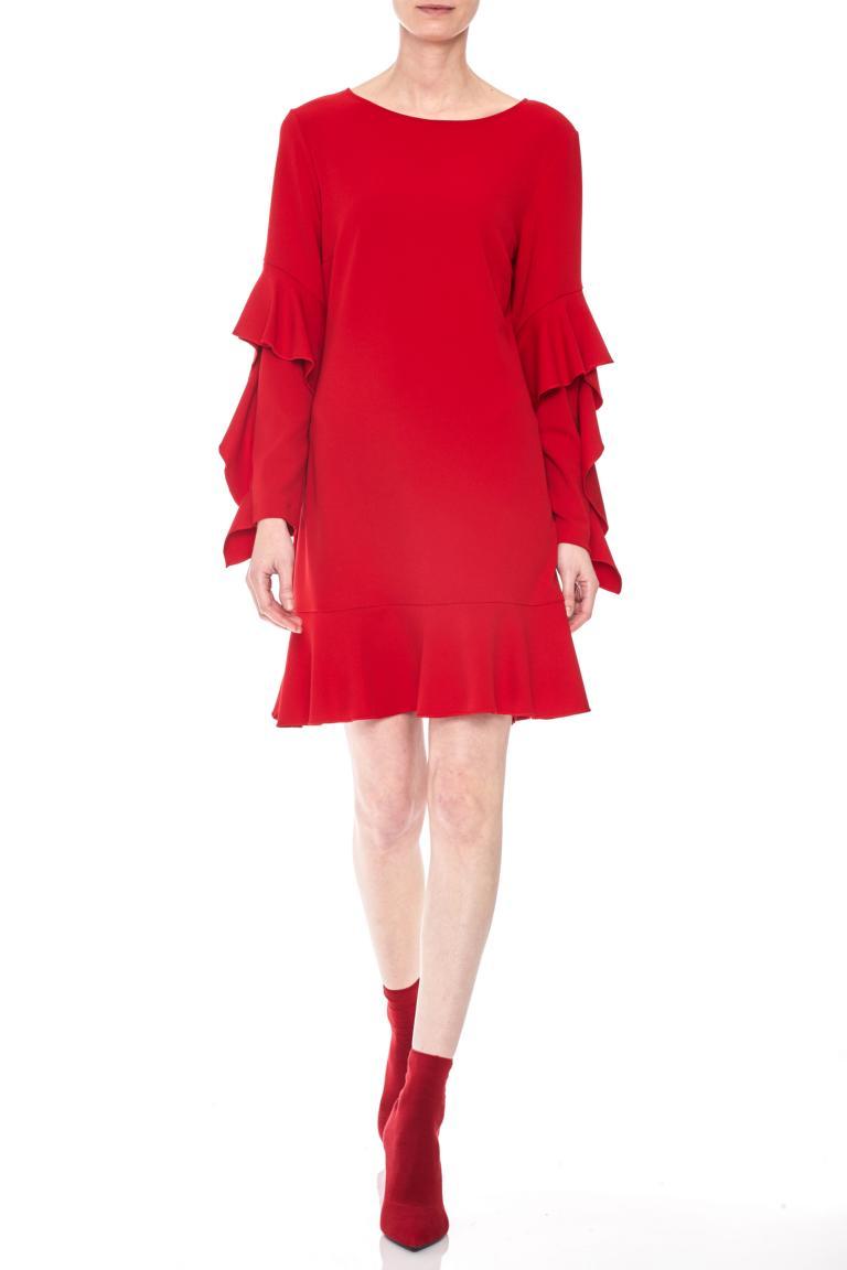 Rückansicht von Ana Alcazar Volantärmel-Kleid Philis Blau  angezogen an Model
