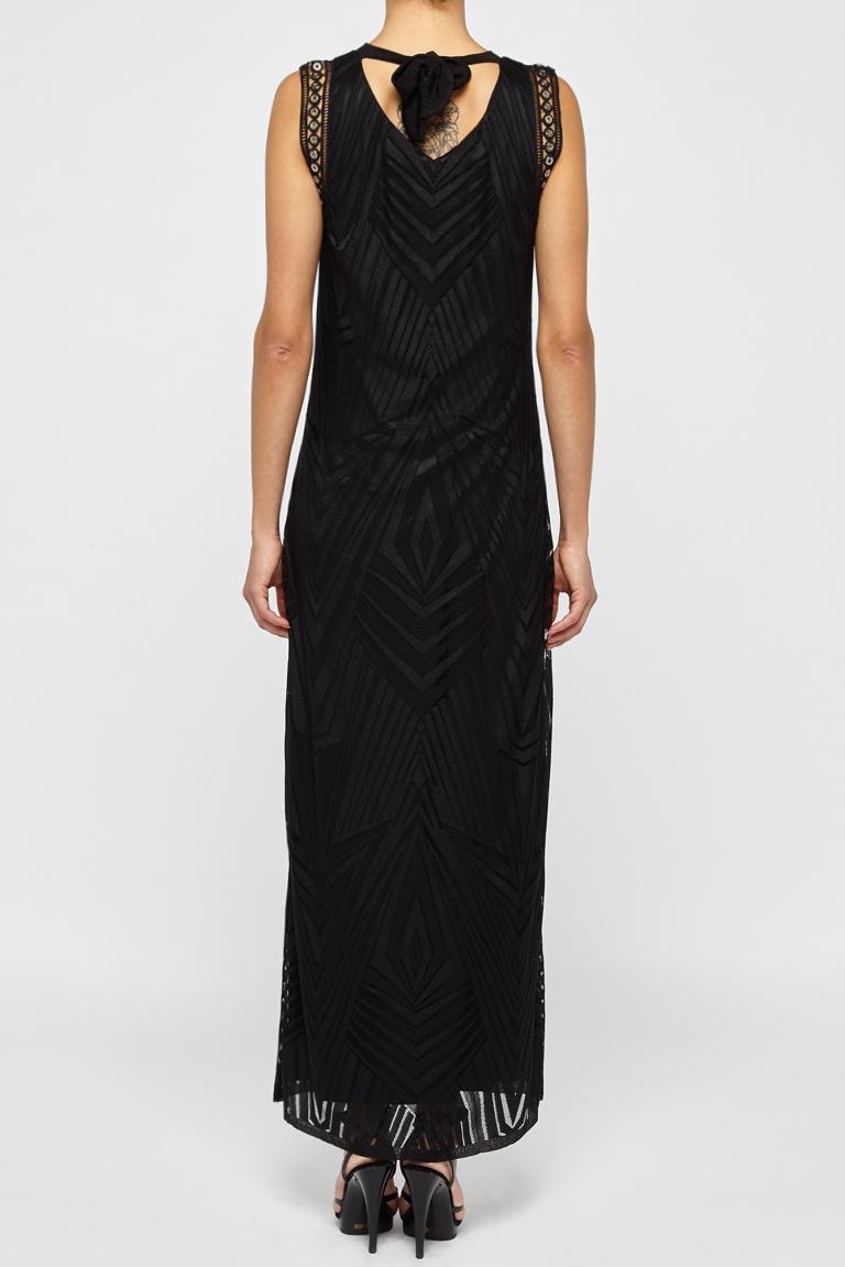 Rear view of Ana Alcazar Maxi  Dress Black Felisas  worn by model