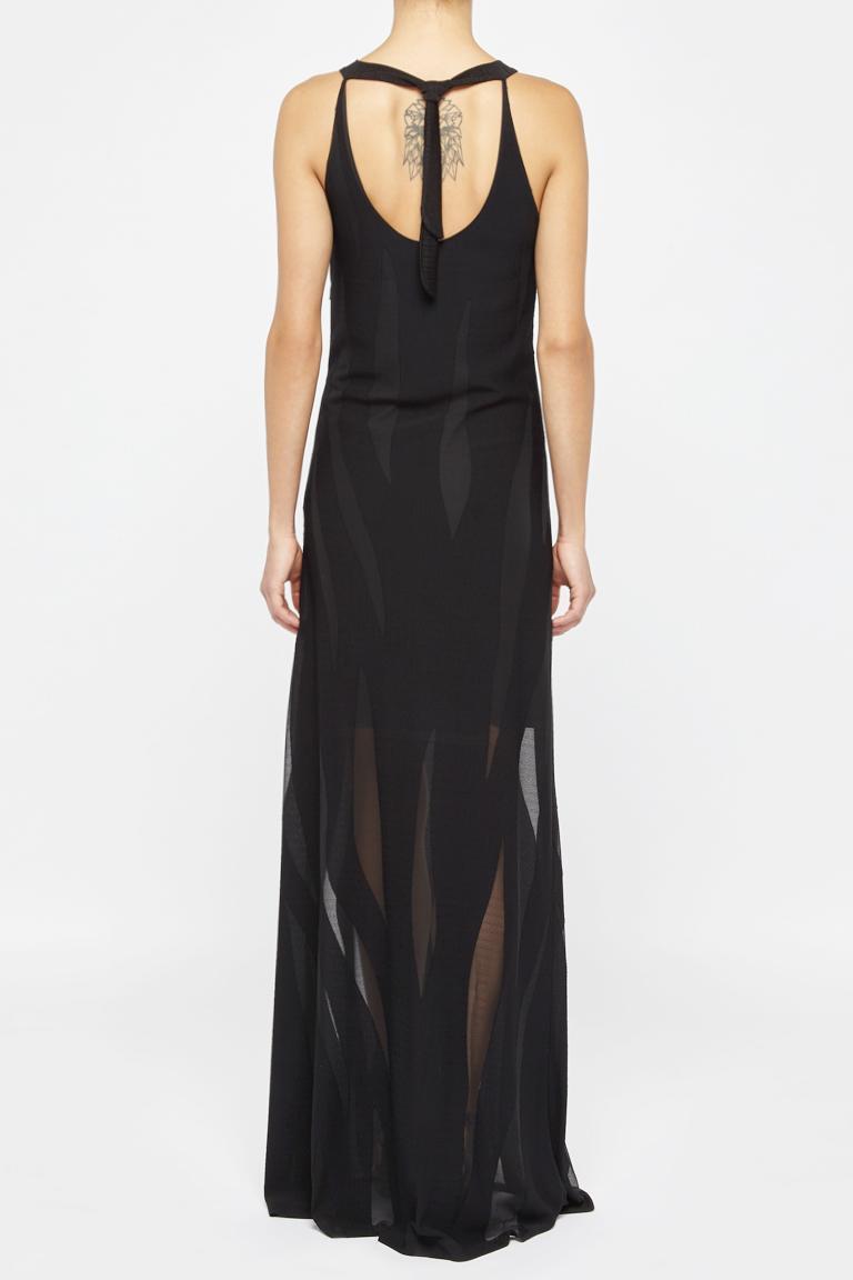Rear view of Ana Alcazar Maxi Dress Black Faleara  worn by model