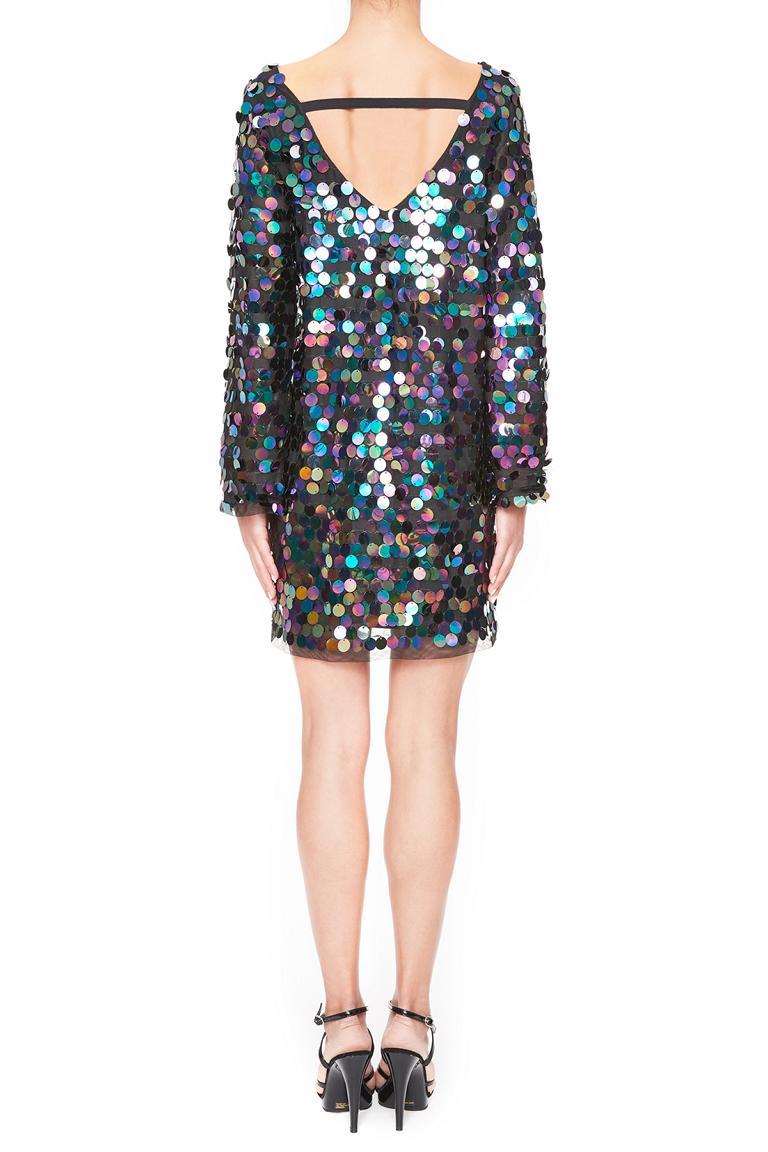 Rückansicht von Ana Alcazar Black Label Pailletten Minikleid Juviendy  angezogen an Model