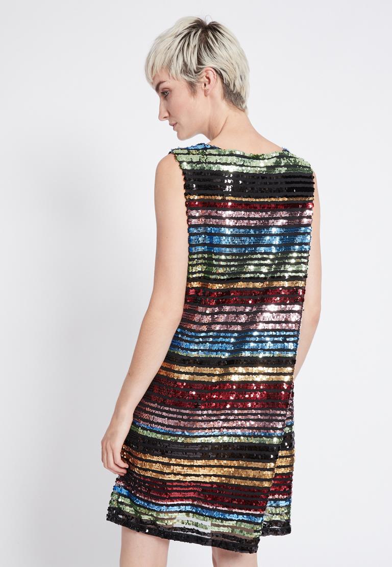 Rückansicht von Ana Alcazar Black Label Pailletten Kleid Rubys  angezogen an Model