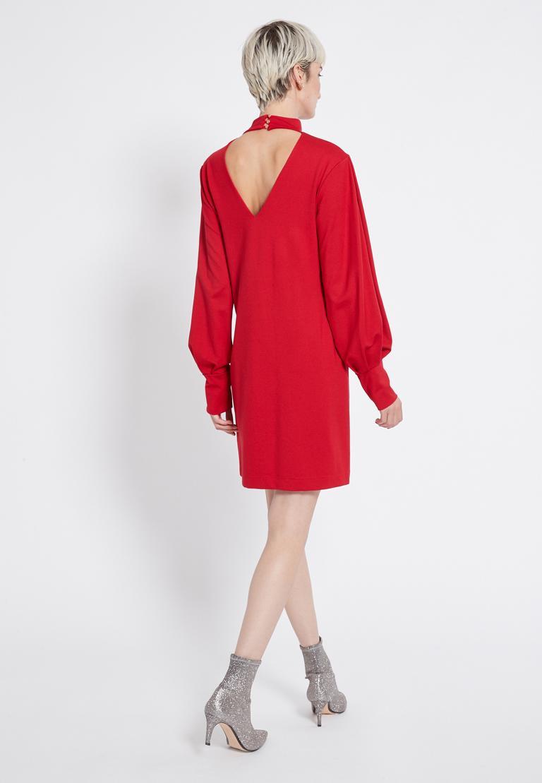 Rückansicht von Ana Alcazar Puffärmel Kleid Resyea Rot  angezogen an Model