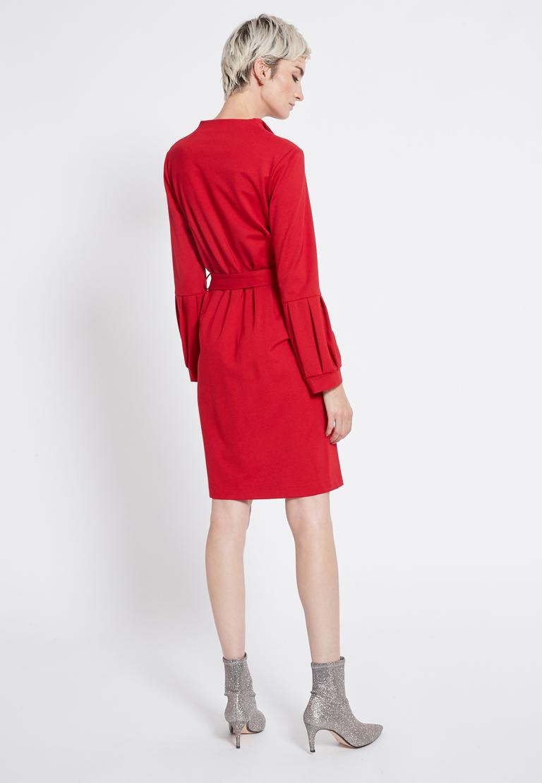 Rear view of Ana Alcazar Belt Dress Resyly Red  worn by model