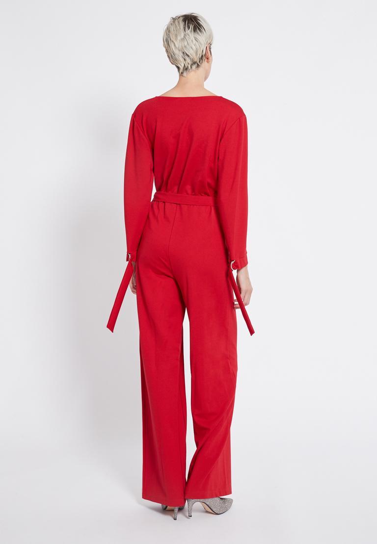 Rückansicht von Ana Alcazar Jumpsuit Rasyes Rot  angezogen an Model