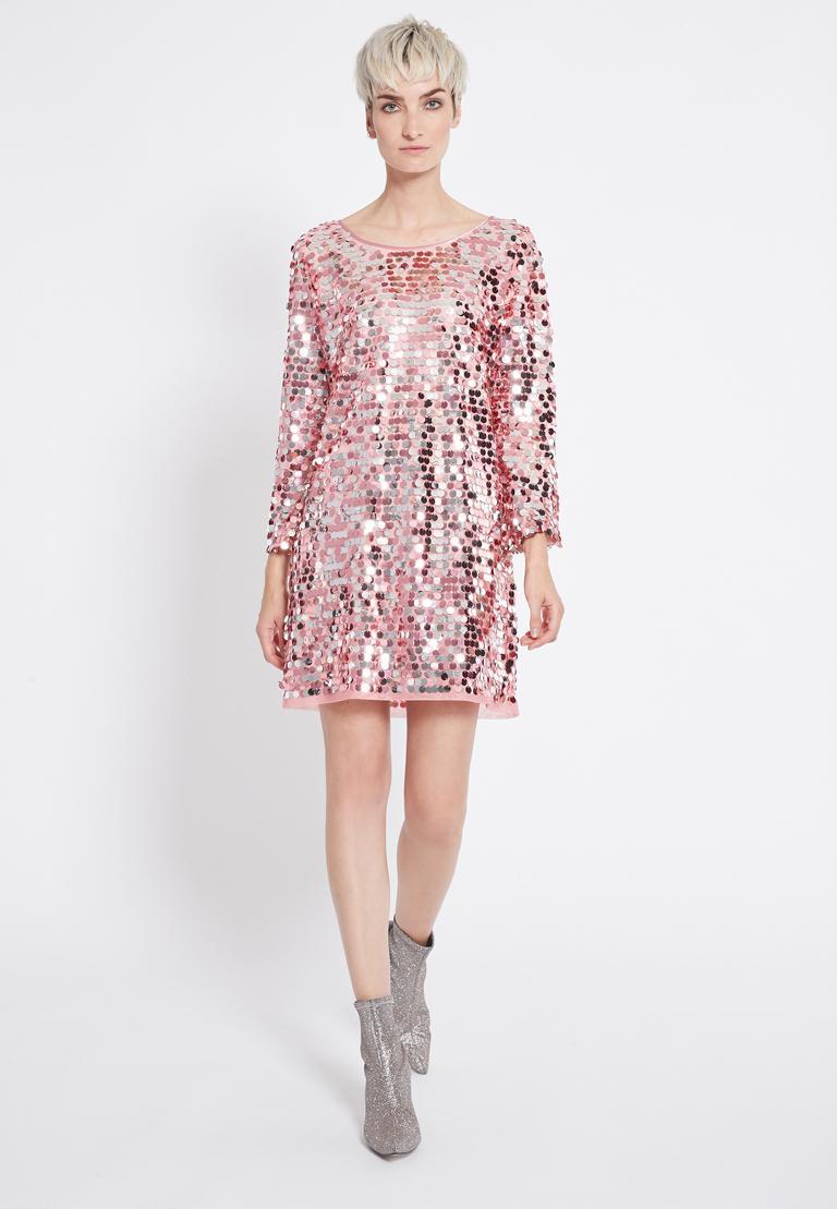 Rückansicht von Ana Alcazar Glam Pailletten Kleid Rhetys Schwarz  angezogen an Model