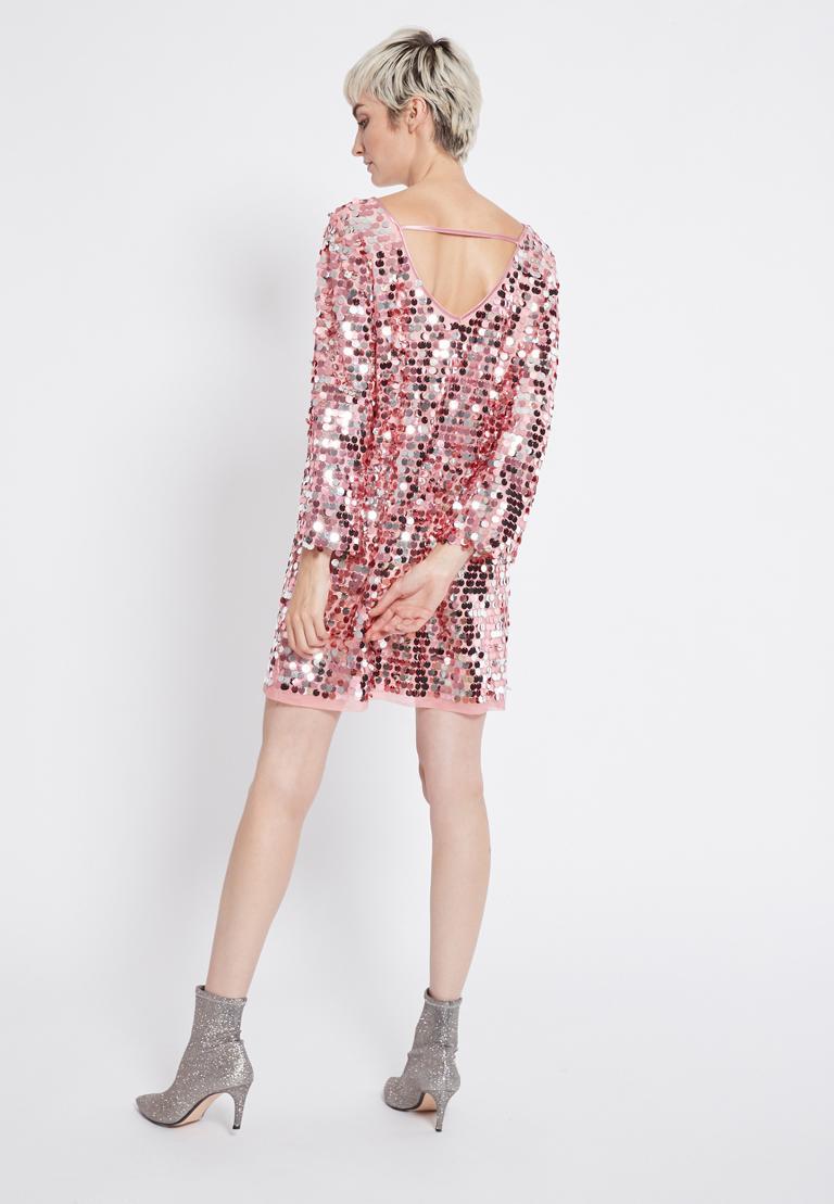 Rear view of Ana Alcazar Glam Sequin Dress Rhetas Rose  worn by model