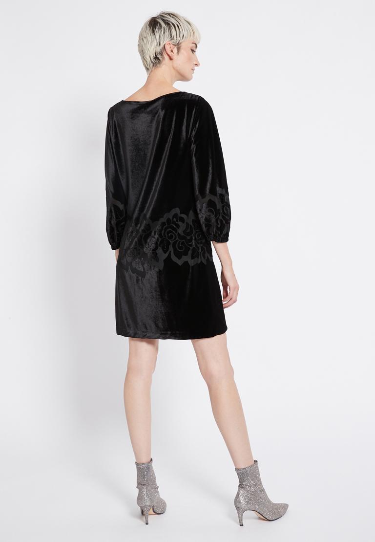 Rear view of Ana Alcazar Velvet Dress Revita  worn by model