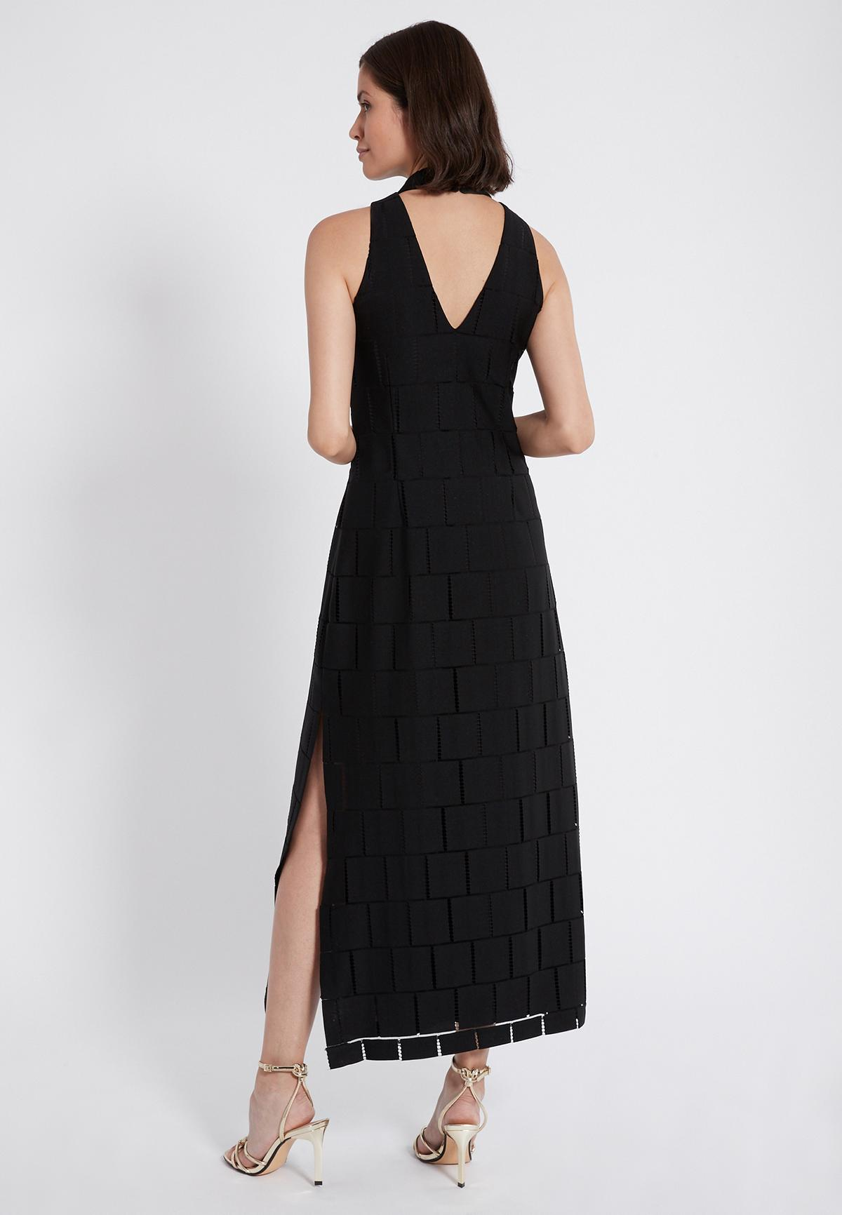 Rear view of Ana Alcazar Maxi Dress Samita Black  worn by model