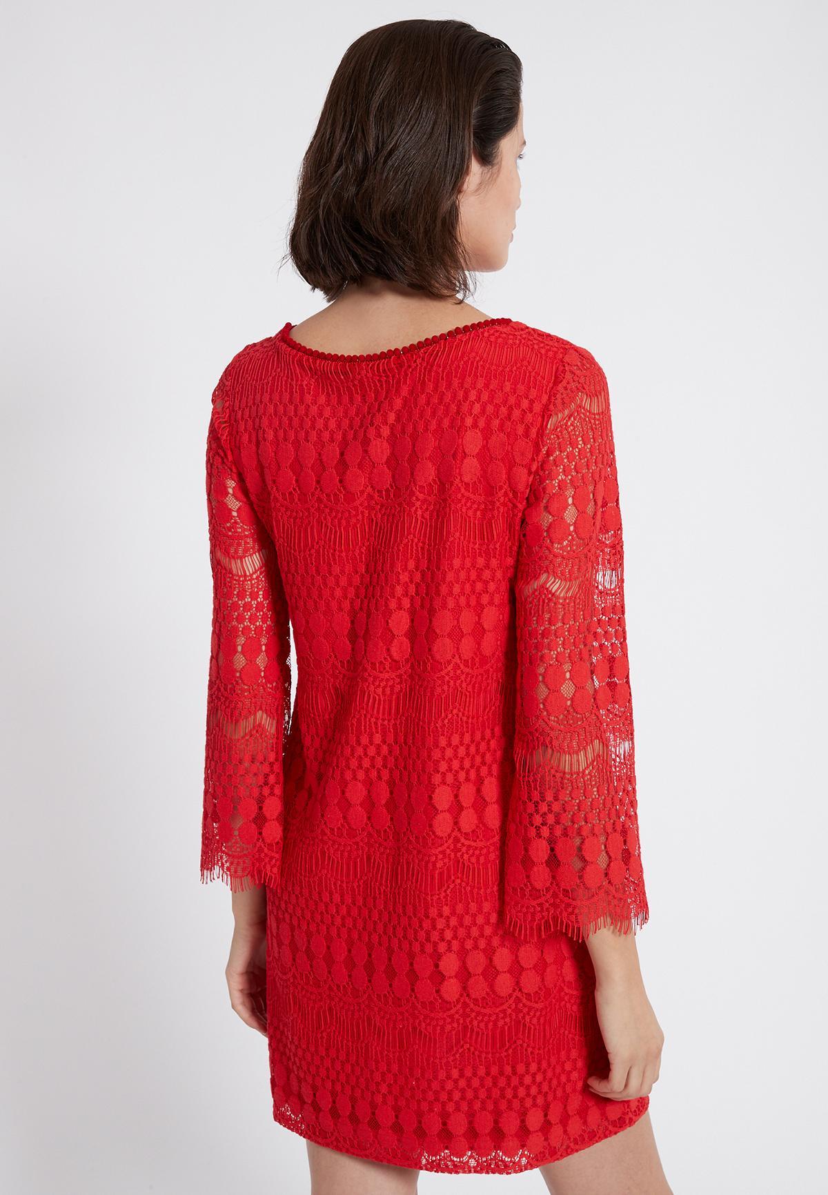 Rückansicht von Ana Alcazar Tunikakleid Sanicos Rot  angezogen an Model