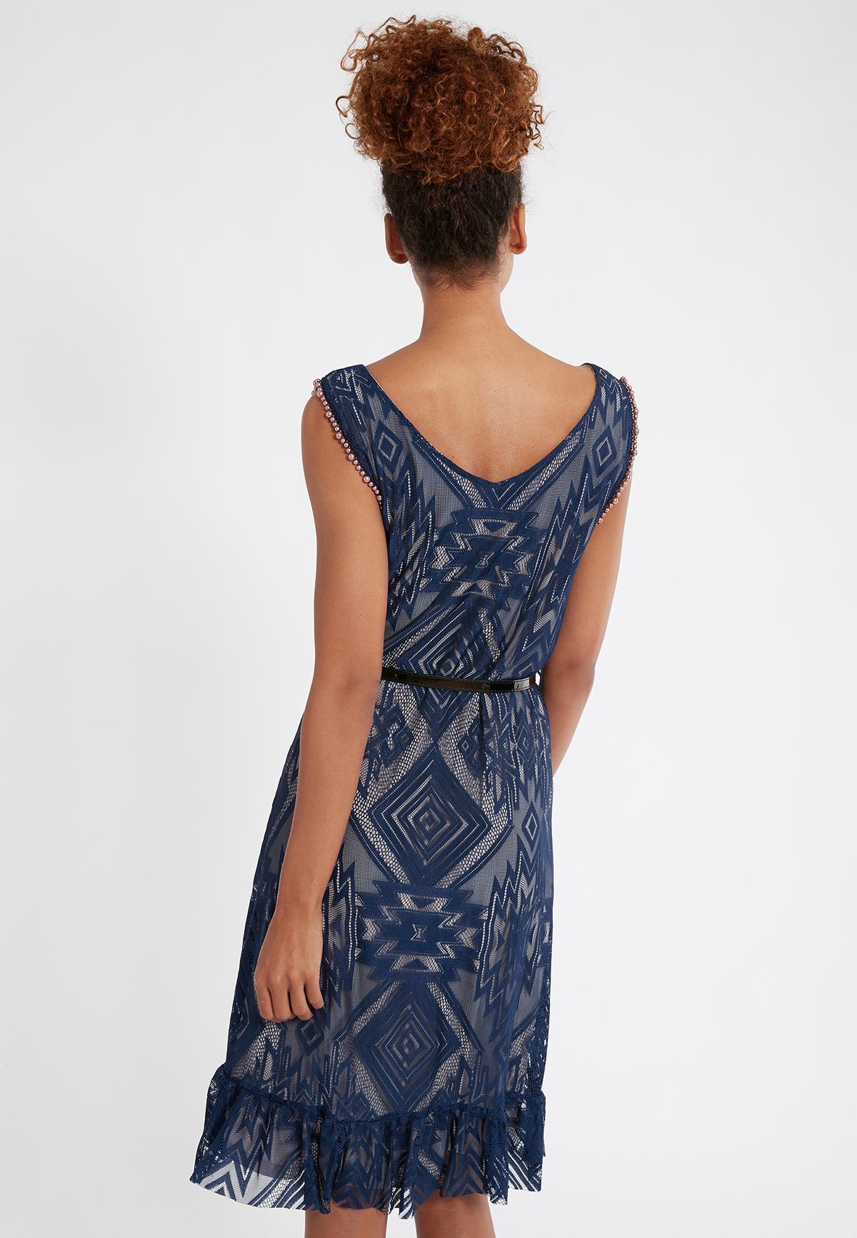 Rear view of Ana Alcazar Sleeveless Dress Saprona  worn by model