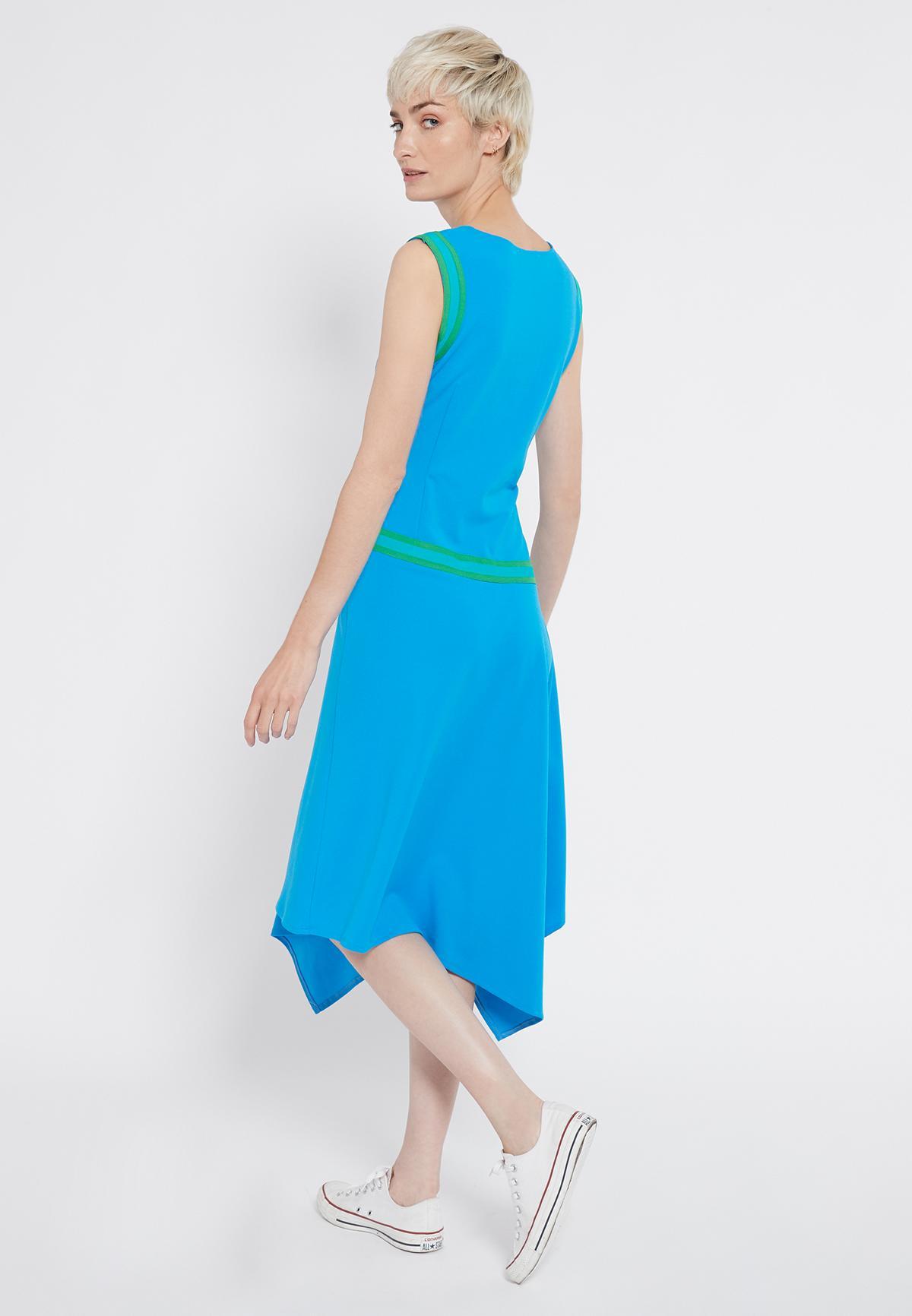 Achteraanzicht van Ana Alcazar Midi Jurk Savna Blauw  gedragen per model