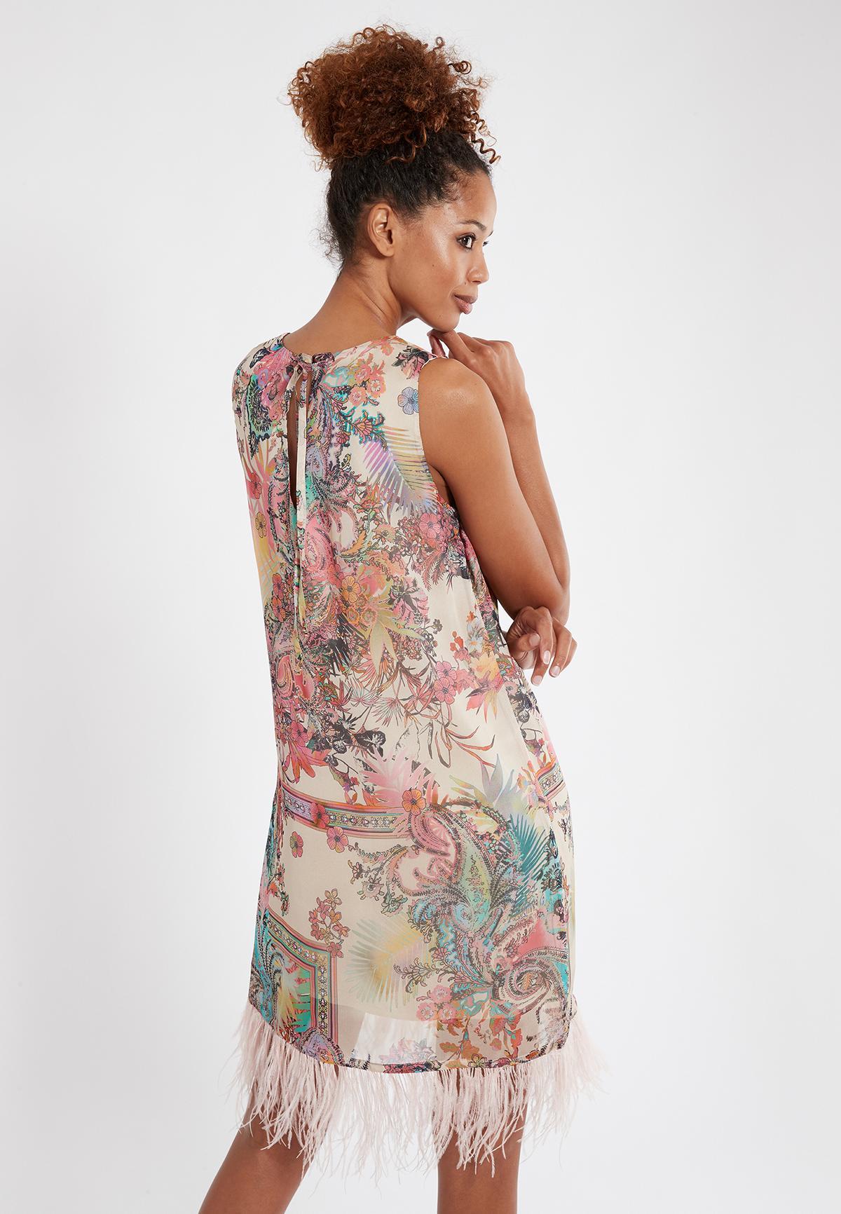 Rear view of Ana Alcazar A-Shaped Dress Sekato Beige  worn by model