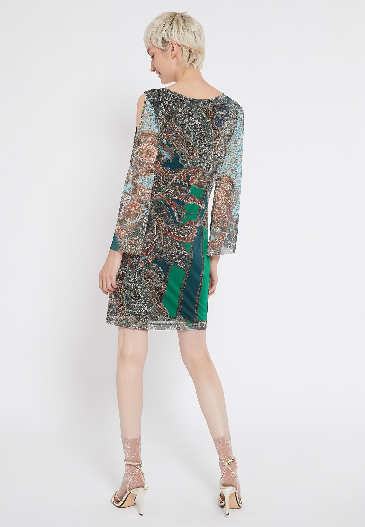 Rückansicht von Ana Alcazar Deko Kleid Shalma  angezogen an Model
