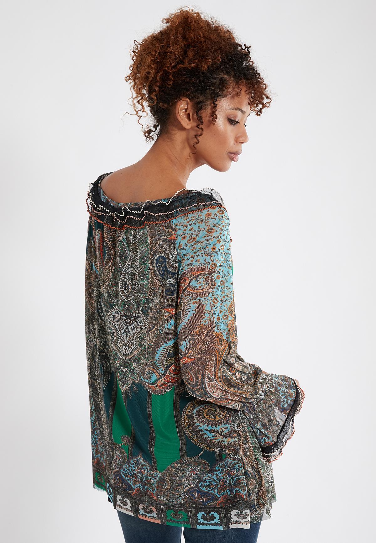 Rückansicht von Ana Alcazar Bluse Shaly  angezogen an Model