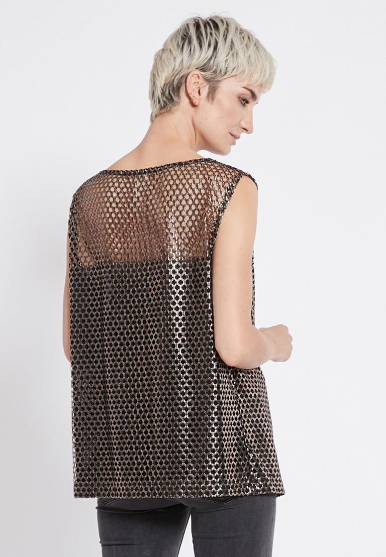 Rückansicht von Ana Alcazar Mesh Top Renys  angezogen an Model