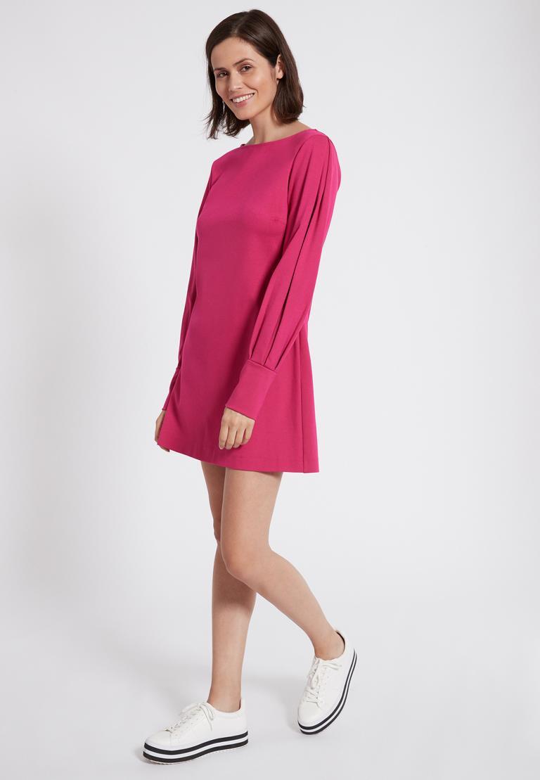 Rückansicht von Ana Alcazar Ärmel Kleid Olisuda Schwarz  angezogen an Model