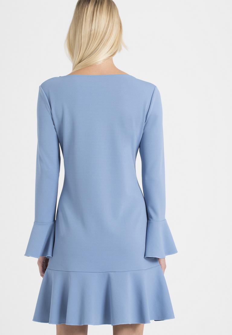 Rear view of Ana Alcazar Volant Dress Palya Blue  worn by model