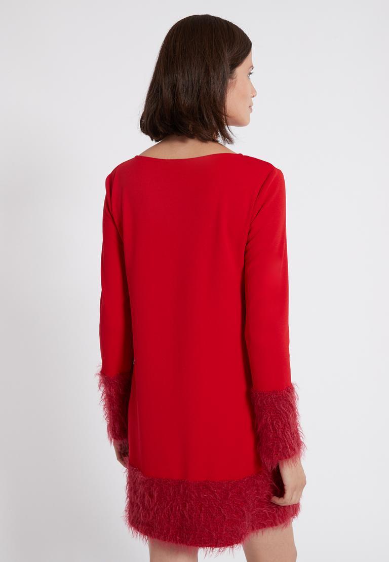 Rückansicht von Ana Alcazar Mix Kleid Petea Rot  angezogen an Model