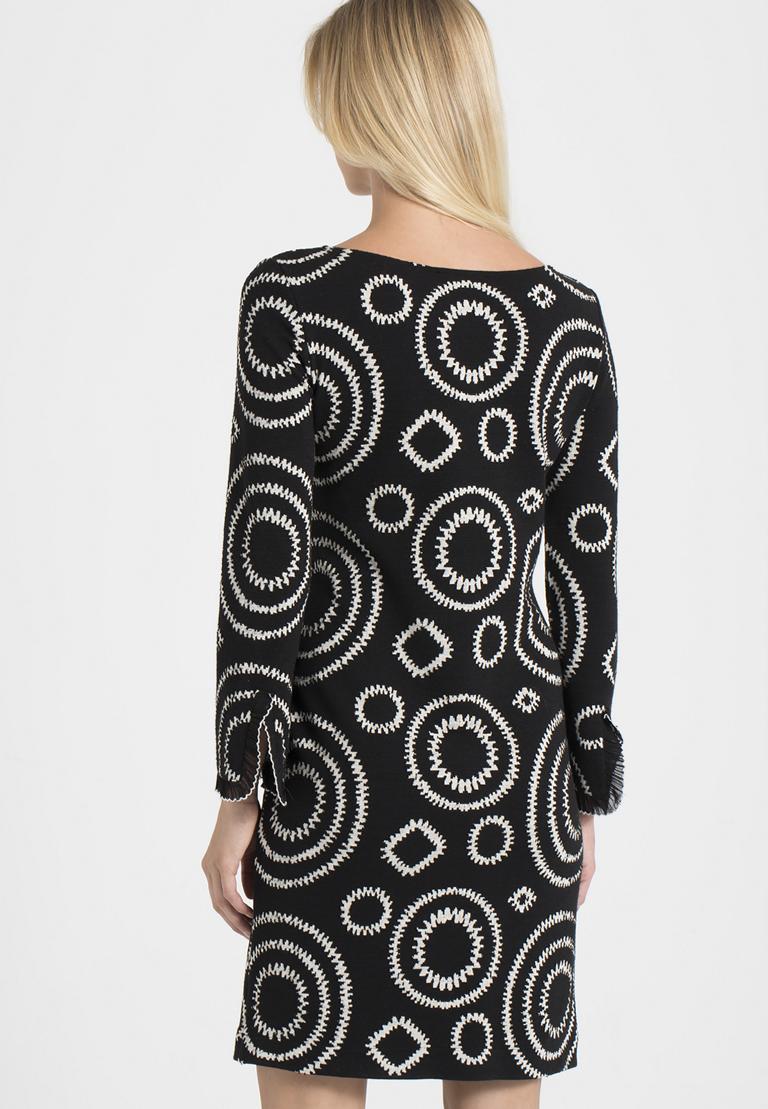 Rückansicht von Ana Alcazar A-Linien-Kleid Pepita Schwarz  angezogen an Model