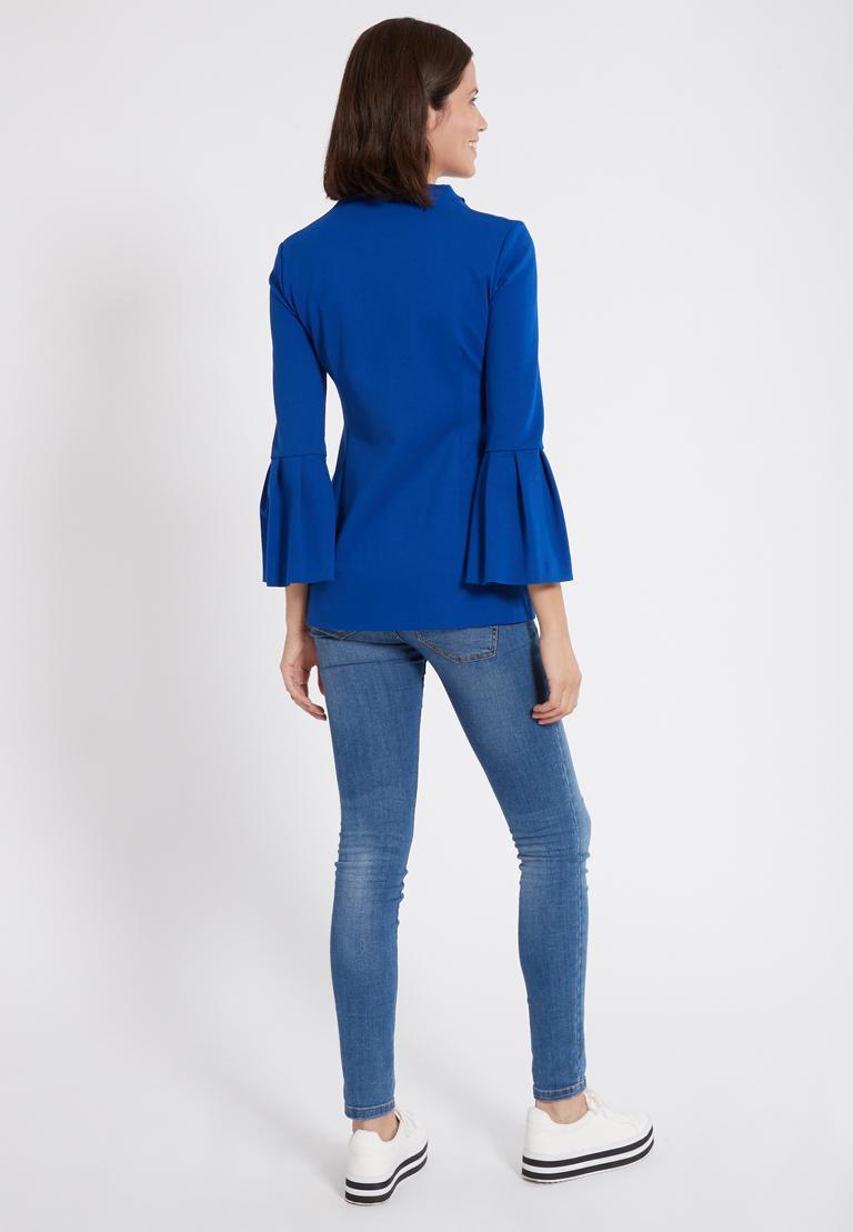Rückansicht von Ana Alcazar Trompetenärmel Top Orpita Blau  angezogen an Model